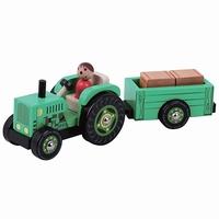 Tractor met aanhanger groen met 2 losse hooibalen