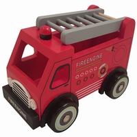 Brandweerauto met grijze ladder